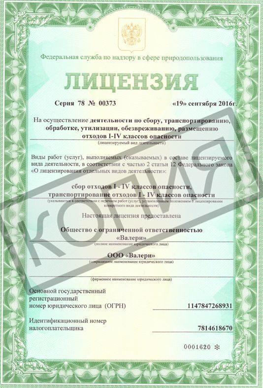 Лицензия на отходы Валери